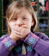 little blond girl wrapping their mouth herself